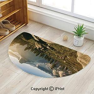 "LEFEDZYLJHGO Printed Rug Semi Circle,Semicircle Rug Reversible,Decorative Design,Yosemite Valley and Half Dome in Foggy Morning During Romantic Sunrise Scenery,35""x24"""