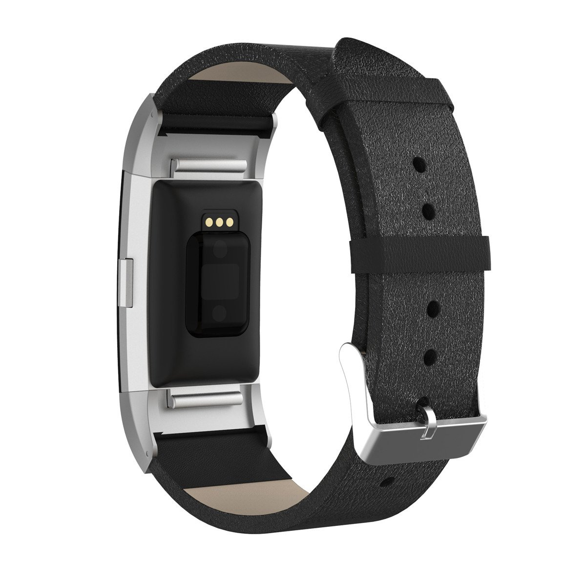 BONSTRAP For Fitbit Charge 2 Genuine Leather Watchband Replacement Accessories Bracelet Wrist Strap Adapter Black