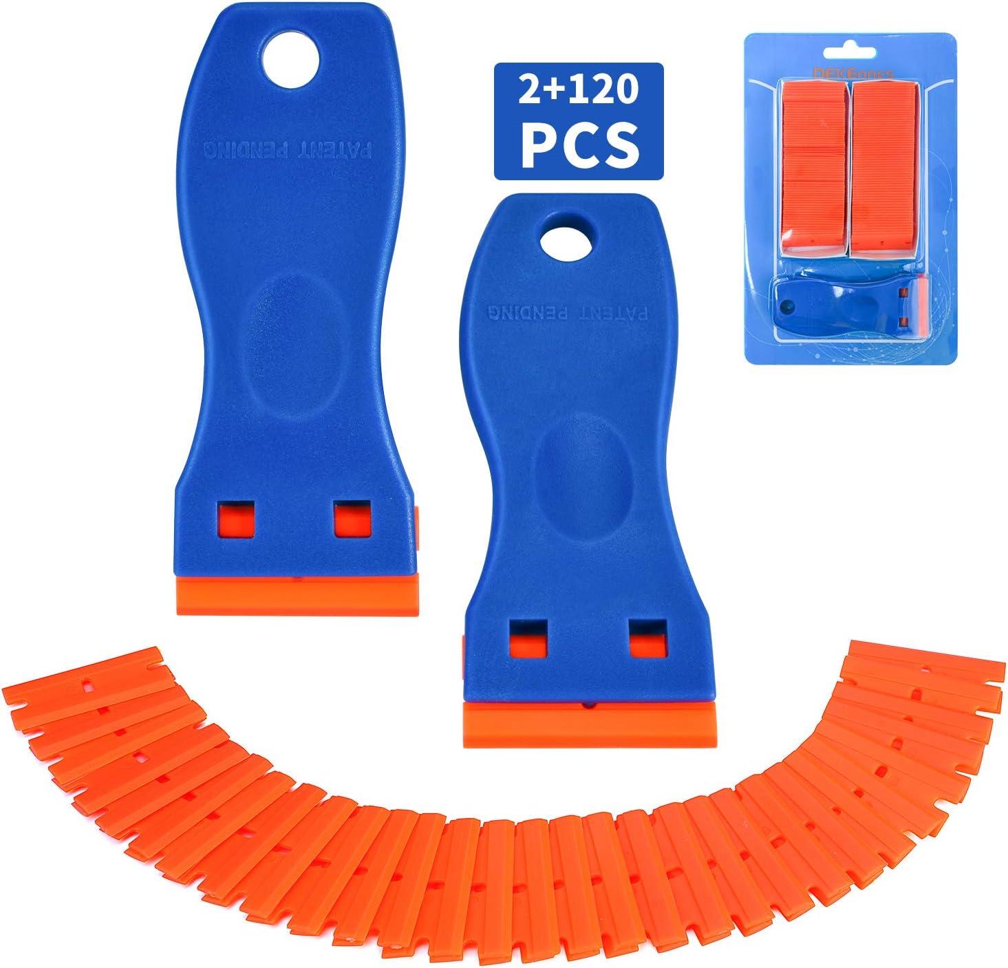 Plastic Razor Blade Scraper, 2 Pack Razor Scraper with 120 Pcs Razor Blades for Removing Glue, Sticker, Decals, Tint from Car Window and Glass