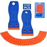 Plastic Razor Blade Scraper, 2 Pack Razor Scraper with 120 Pcs Razor Blades for Removing Glue, Sticker, Decals, Tint…
