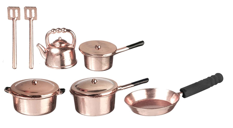 Dollhouse Miniature 1:12 Set of Copper Pots /& Pans by Town Square Miniatures