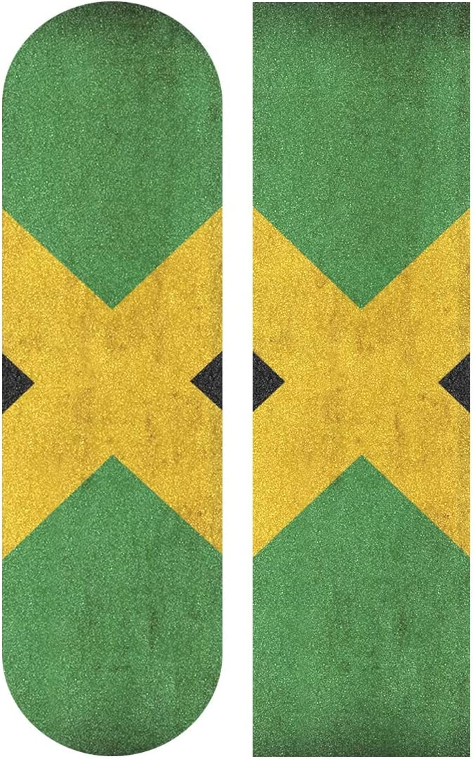 Jamaica Flag Pattern 33.1 x 9.1 inch Skateboard Pedal Tape,Self-Adhesive Bubble-Free Waterproof Non-Slip Skateboard Grip Tape Long Board Skateboard Griptape Sticker HONGSH Skateboard Sandpaper