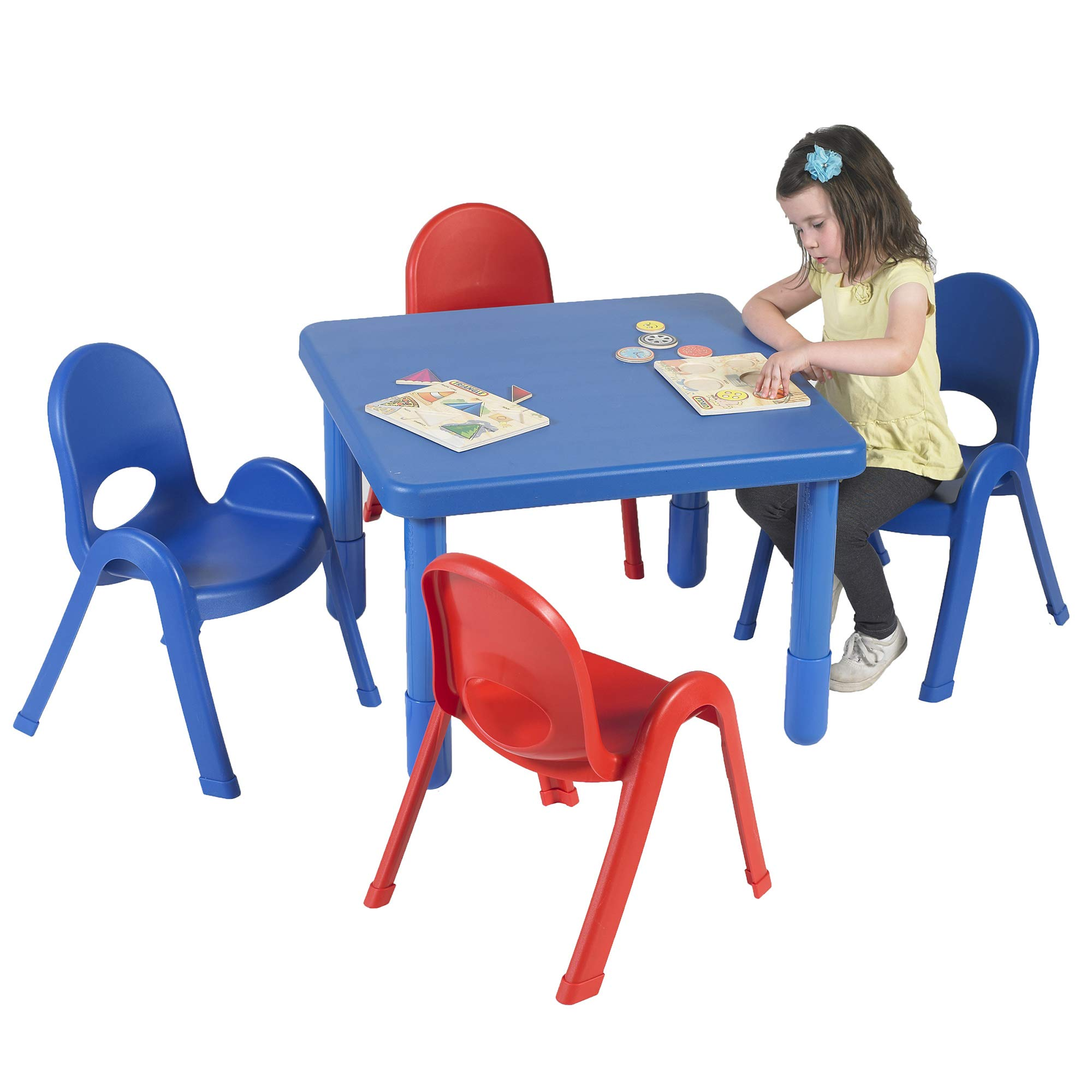 Angeles Preschool MyValue Square Table and Chairs Set, Royal Blue/Candy Apple Red - Includes One 28'', 20'' High Square Table and Four 11'' High Chairs - Durable, Lightweight, Easy to Move by Angeles