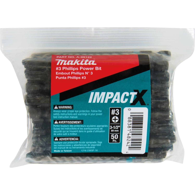 Makita A-99122 Impactx #3 Phillips 3-1/2″ Power Bit, 50 Pack, Bulk