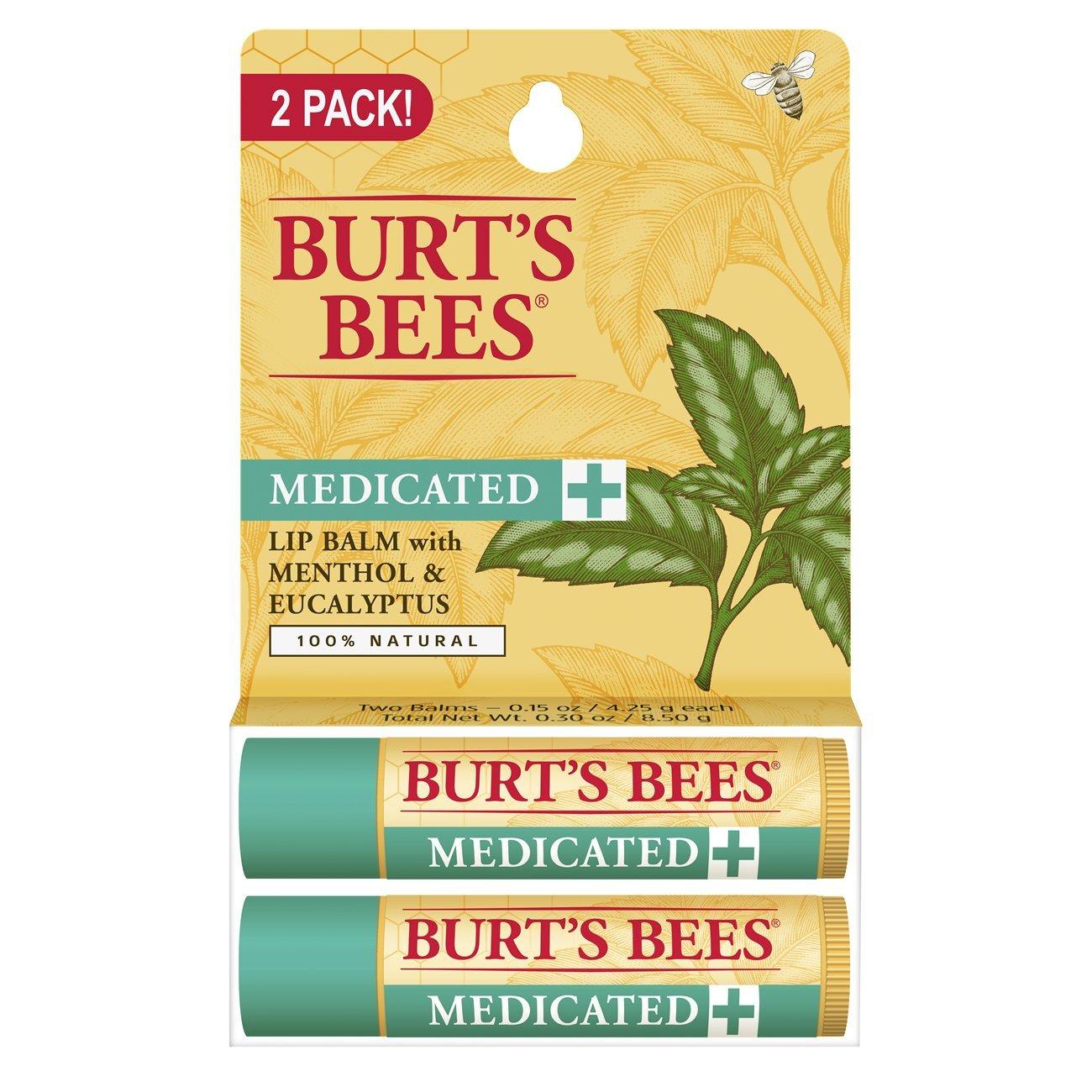 Burt's Bees 100% Natural Medicated Moisturizing Lip Balm with Menthol & Eucalyptus - 2 Tubes