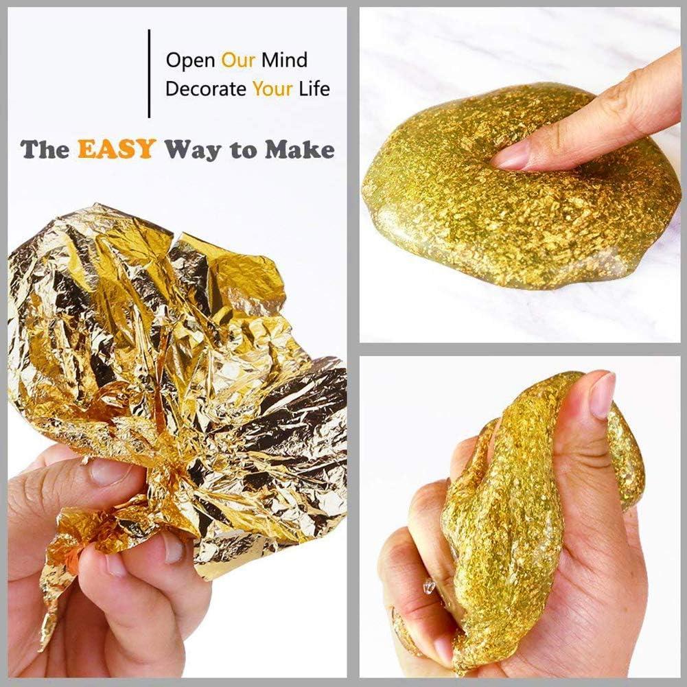 Goldfolie 100 Blatt Gl/änzendes Goldpapier Imitation Blattgold Folienbl/ätter 14x14cm Vergoldung Kupferblatt zur Dekoration Vergoldung Handwerk