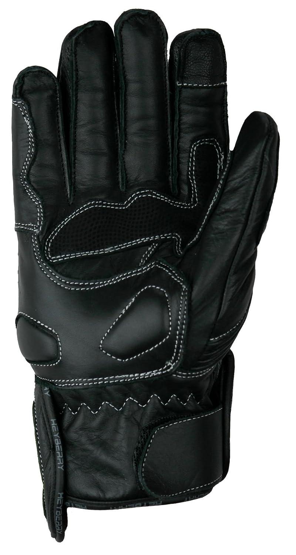 Heyberry Motorradhandschuhe kurz Leder schwarz neon Gr L