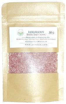 ATTIS Lujoso jabón de sal de baño con aceite esencial de helichrysum, sal del mar muerto, copos de magnesio, sal del Epsom vegano, hecho a mano para ...