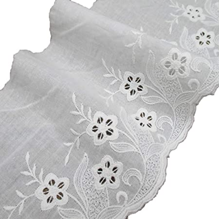 White Fabric Eyelet Lace 5.5 inch Scalloped Trim 3 yard Cotton Embroidery Lace