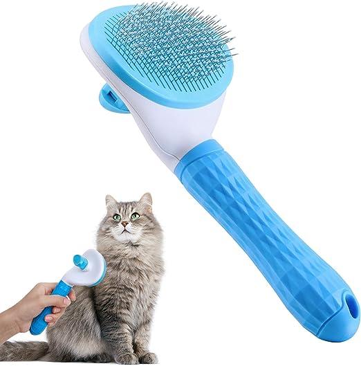 Cepillo para gatos JWTEEE, cepillo autolimpiable, elimina la capa inferior de lana para perros, gatos, pelo corto a largo, adecuado para cepillo suave para gatos (azul): Amazon.es: Belleza