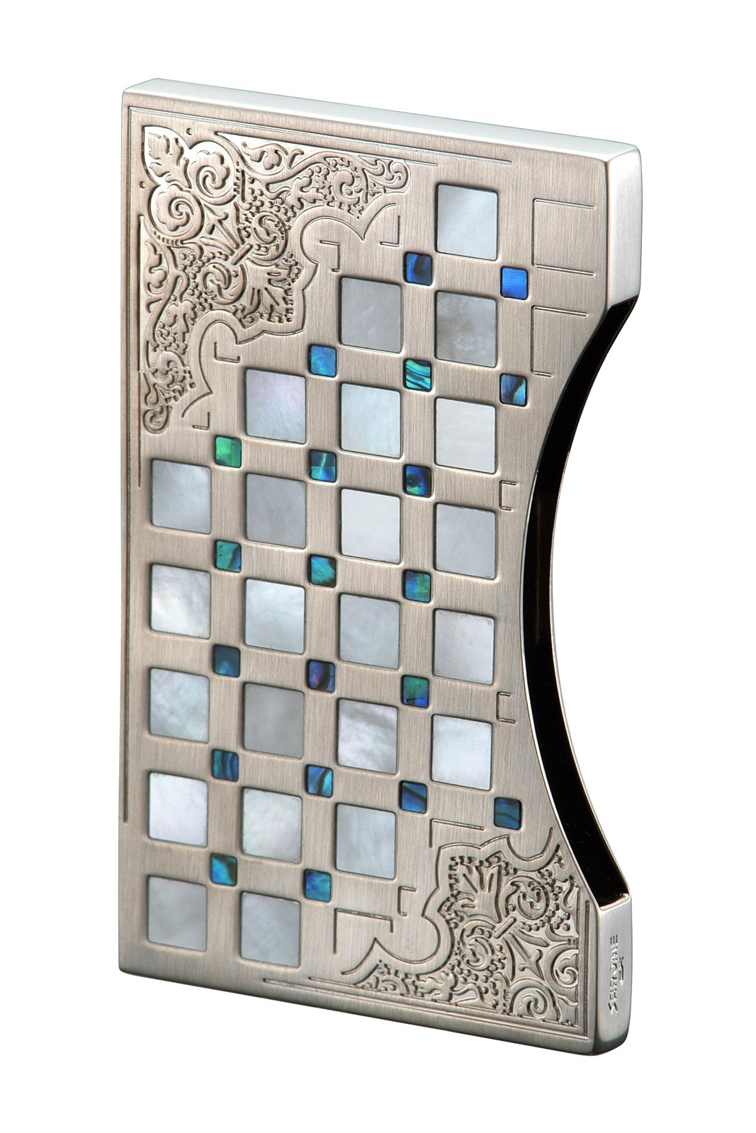 Sarome business card case EXNA1-01 Sliver arabesque / mother of pearl & abalone
