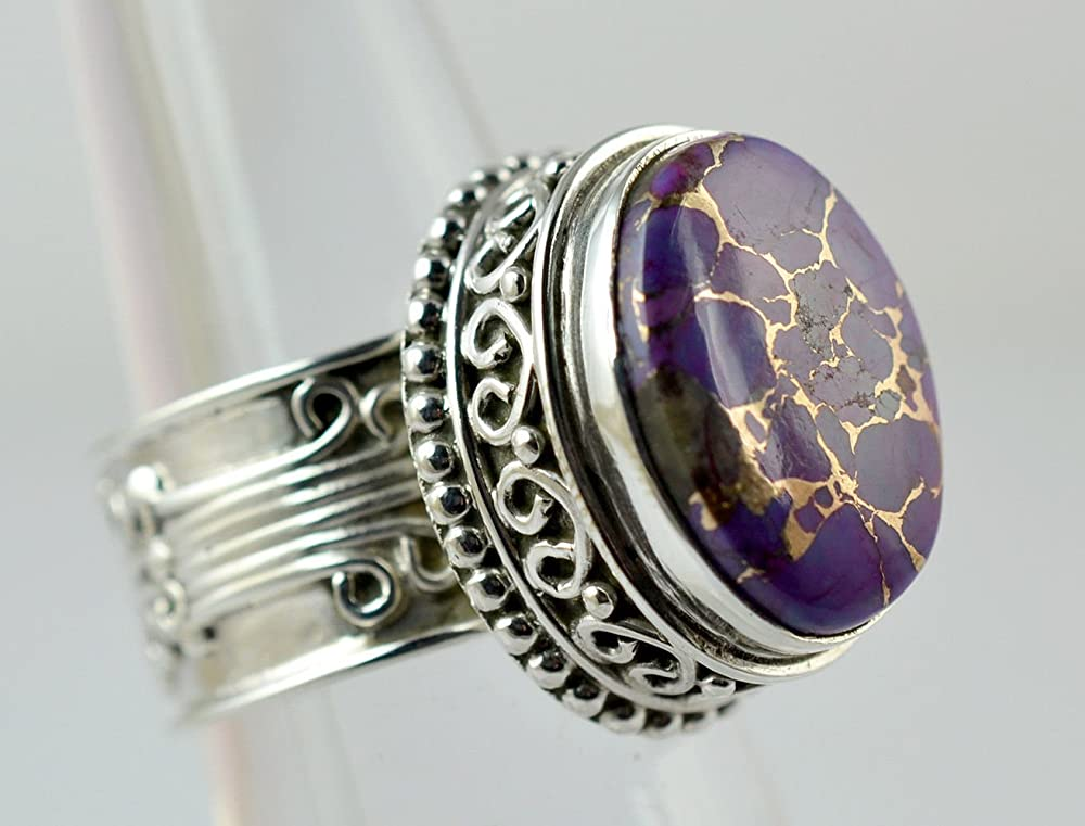 anello in argento misura da 6 a 31 IT anello con gemma anello fatto a mano anello in argento massiccio 925 Anello in argento turchese rame viola