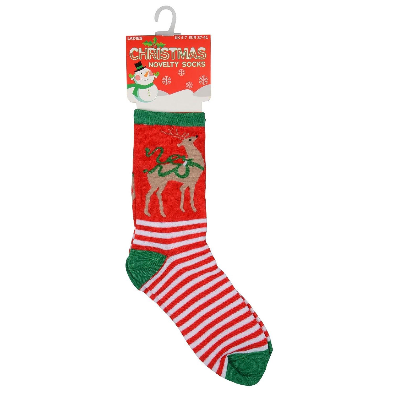 6 PAIRS WOMEN LADIES CHRISTMAS TREE SOCKS SANTA REINDEER NOVELTY SOCKS UK 4-7