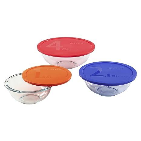 Amazon.com: Pyrex 1085308 Smart Essentials 6-Piece Mixing Bowl Set ...