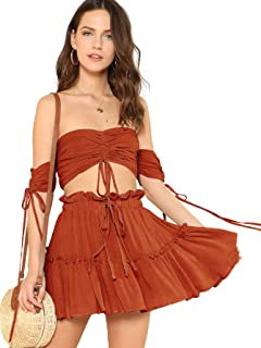 65e5337fea65 Floerns Women's Two Piece Outfit Off Shoulder Drawstring Crop Top and Skirt  Set