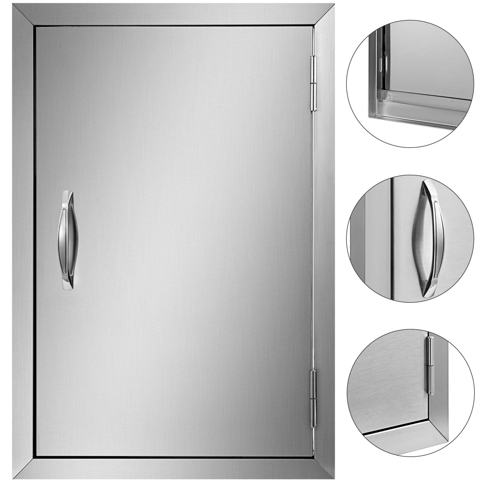 Mophorn Double Wall BBQ Access Door 17 Width x 24 Height Inch BBQ Island Door Brushed Stainless Steel Perfect for Outdoor Kitchen or BBQ Island