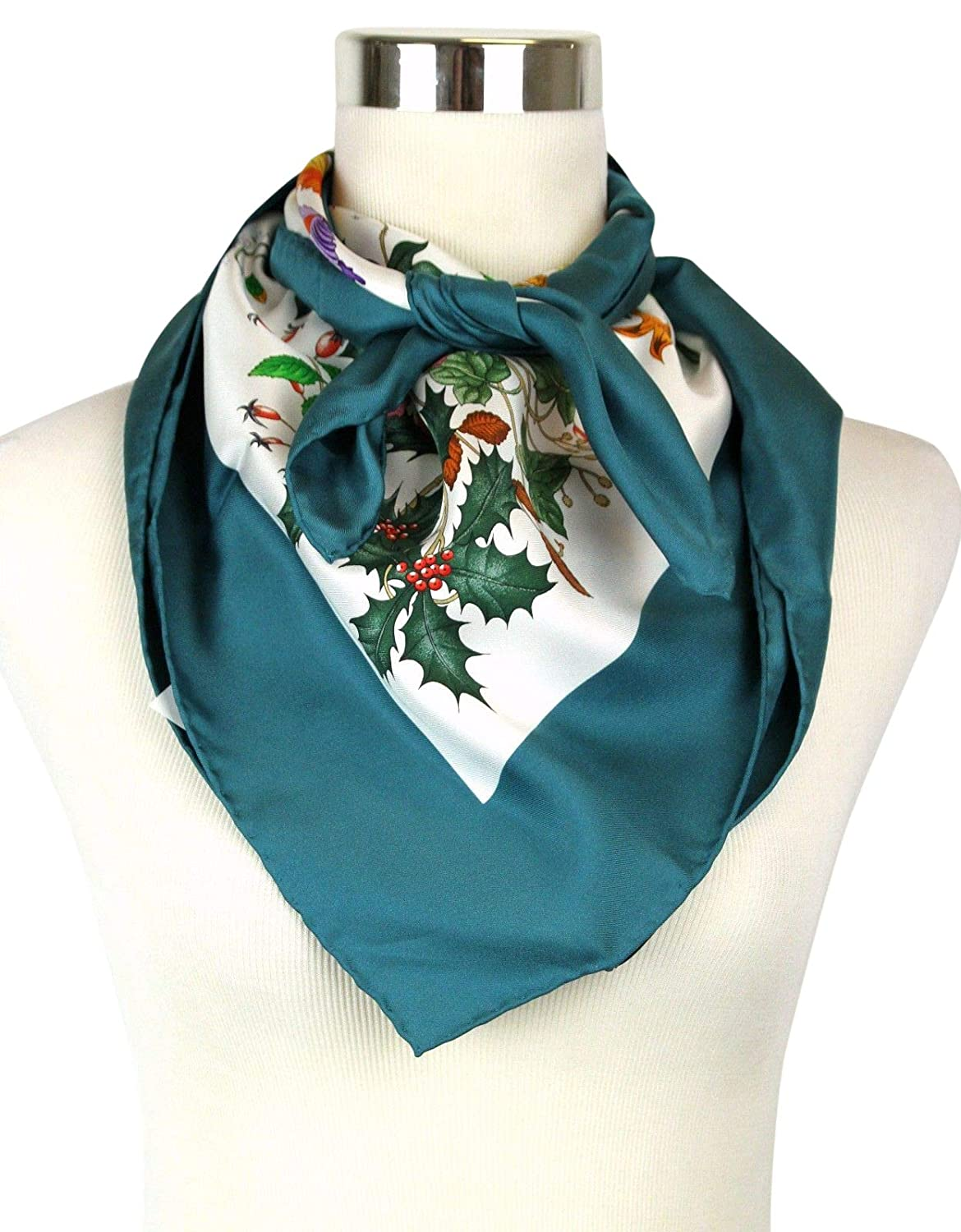 9a2cdc305c Gucci Women's Floral Scarf Green Large Silk Scarf With Trim 022796 ...