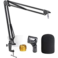 AT2020 Mic Stand with Foam Windscreen - Microphone Boom Arm Stand with Pop Filter for Audio Technica AT2020 AT2020USB…