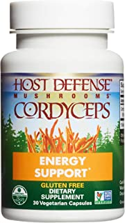 product image for Host Defense, Cordyceps Capsules, Energy and Stamina Support, Daily Dietary Supplement, USDA Organic, 30 Vegetarian Capsules (15 Servings)