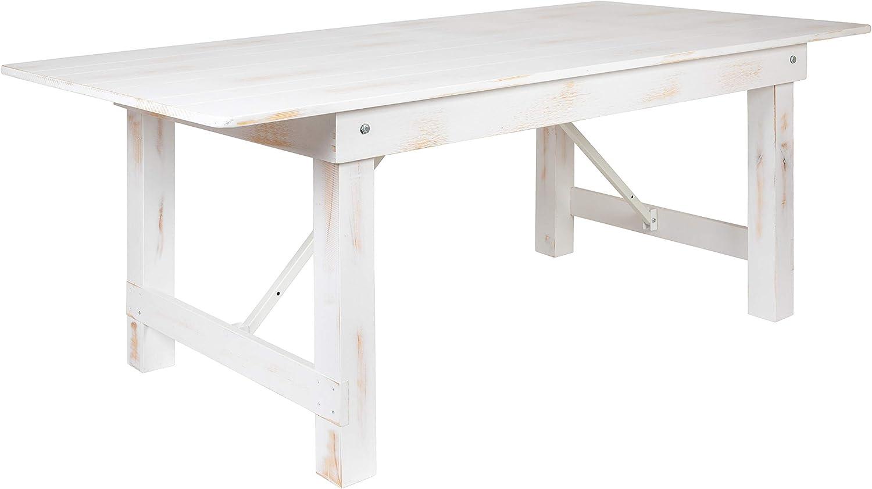 "Flash Furniture HERCULES Series 7' x 40"" Rectangular Antique Rustic White Solid Pine Folding Farm Table"