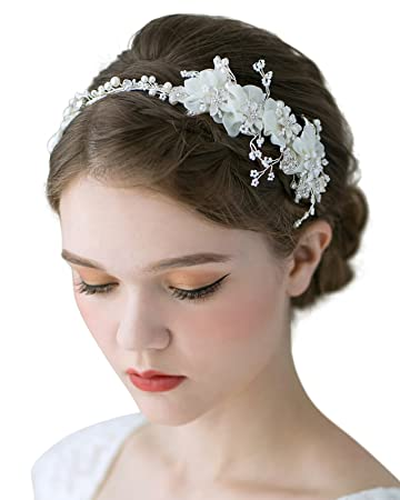 SWEETV Flower Bridal Headbands Ivory Wedding Headpieces Hair Bands Jewelry  Costume Accessories for Women Brides 75a41c77cea