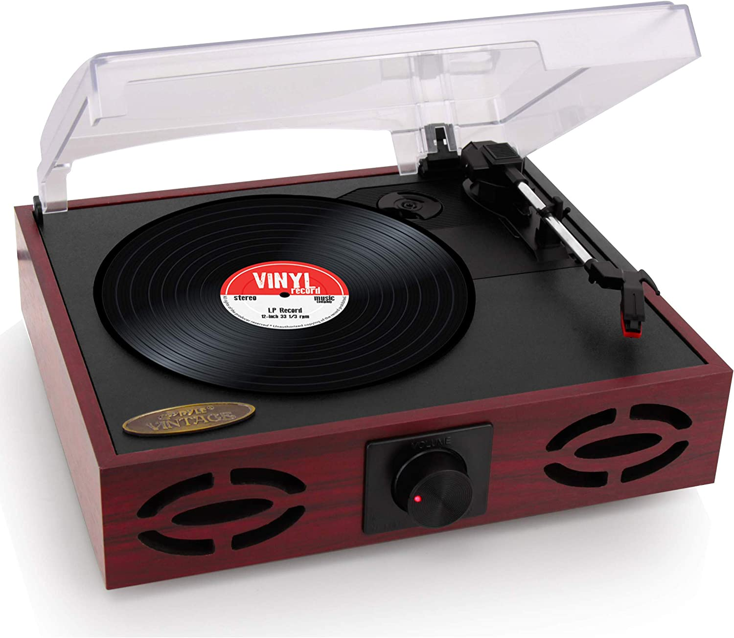Pyle 3-Speed Stereo Turntable, Classic Vintage Style, Vinyl Record Player, Supports Vinyl to MP3 Recording, with Two Built-in Full Range Speakers. (PVNT7U)