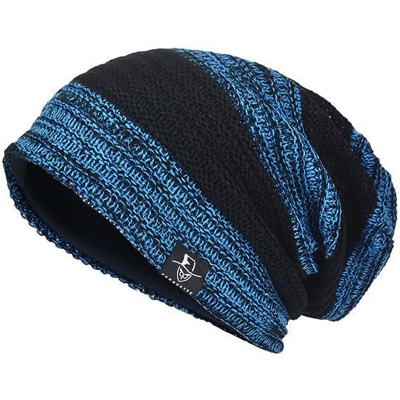 3c0f67a0562 JESSE · RENA Men Beanie Hat Knit Slouchy Baggy Skull Cap CFB306 (Blue&Black)