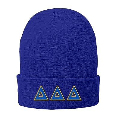 Delta Delta Delta Big Greek Lettered Fleece Lined Knit Cap Royal Blue w Royal  Blue ba3a1a412c22