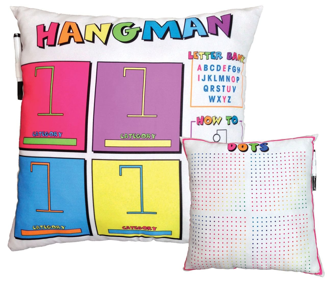 iscream Summer Camp Games Hangman and Dots 16'' Activity Game Pillow for Camp, Troops and More!