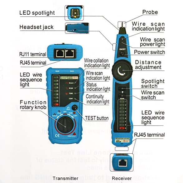 AOZBZ Multifunction RJ11 RJ45 Cat5 Cat6 Telephone Wire Tracker Toner ...