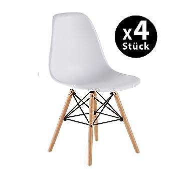 Pack de 4 Eames Style Chair- Mid Century Modern - Silla Eames Moldeada con Patas Eiffel de Madera de Dowel - Para Comedor, Cocina, Dormitorio, Salón - ...
