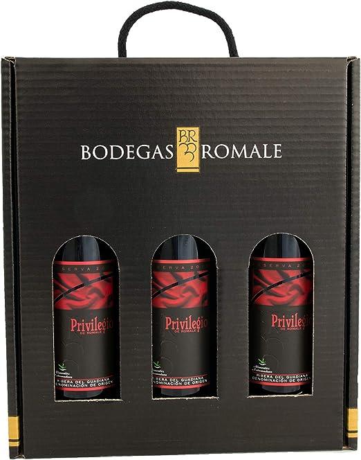 Viña Romale - Vino Tinto Reserva D.O Ribera del Guadiana Pack de 3 Botellas en Estuche de Regalo – Origen Almendralejo: Amazon.es: Hogar