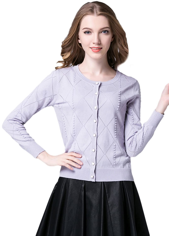 Biwinky Women Solid Color Button Down Long Sleeve Soft Knitwear Cardigan