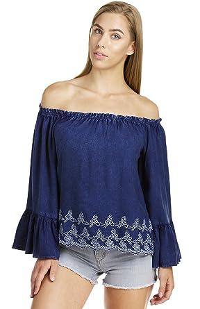 e58d8e19500d Elan Women s Off Shoulder Bell Sleeve Top at Amazon Women s Clothing ...