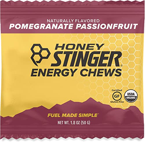 Honey Stinger Organic Energy Chews, Pomegranate Passionfruit, Sports Nutrition, 1.8 Ounce Pack of 12