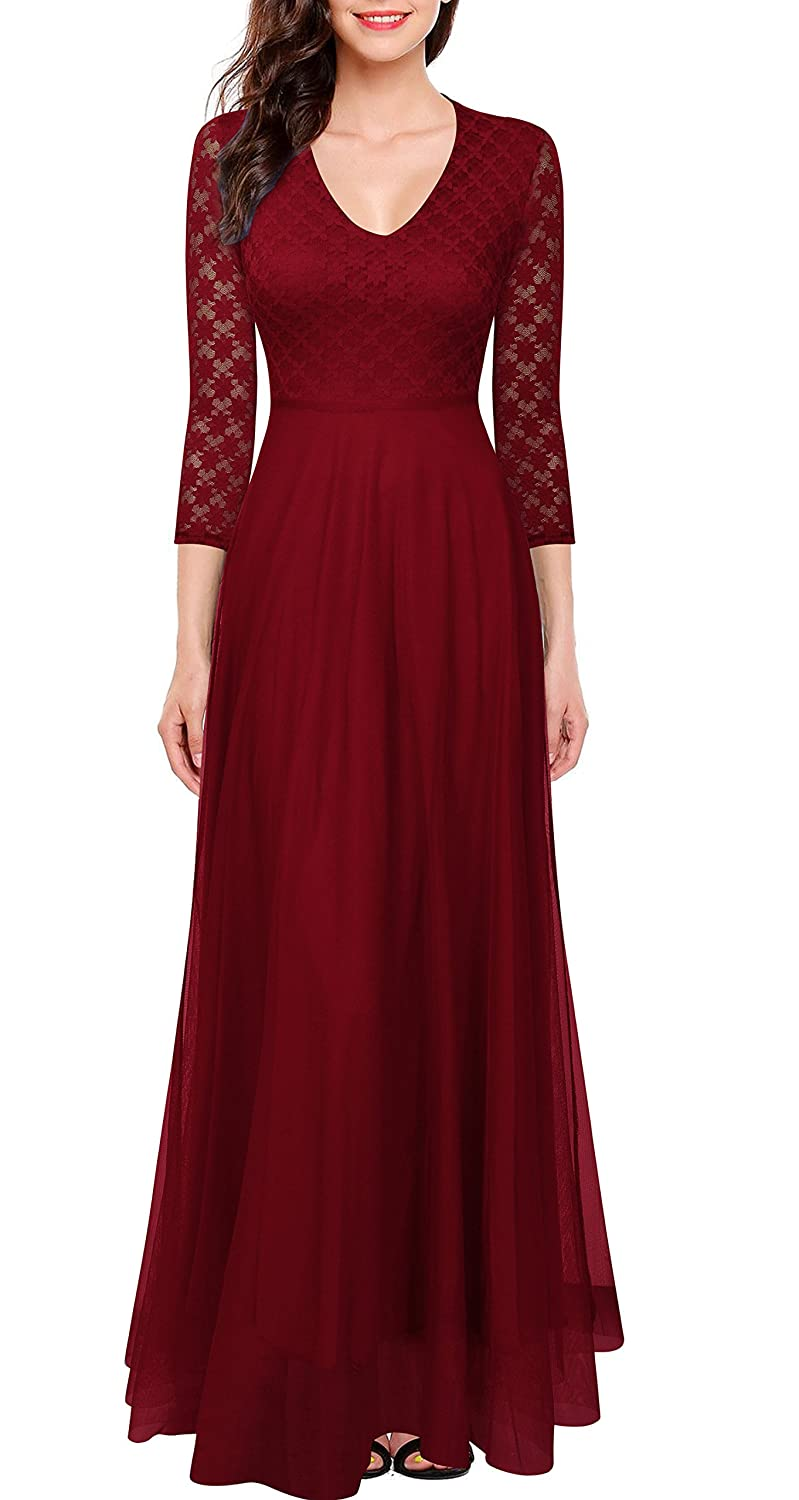 Bridesmaid dresses amazon women 34 sleeve top lace see through back wedding maxi bridesmaid dress ombrellifo Image collections