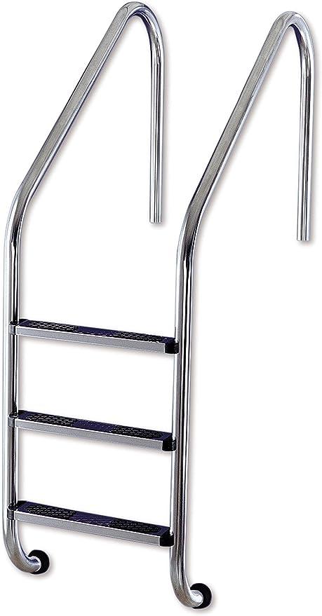 Interline 57050030 - Escalera de la Piscina de Acero Inoxidable Escalera empotrada en el Momento de 3 Pasos, Plata: Amazon.es: Jardín