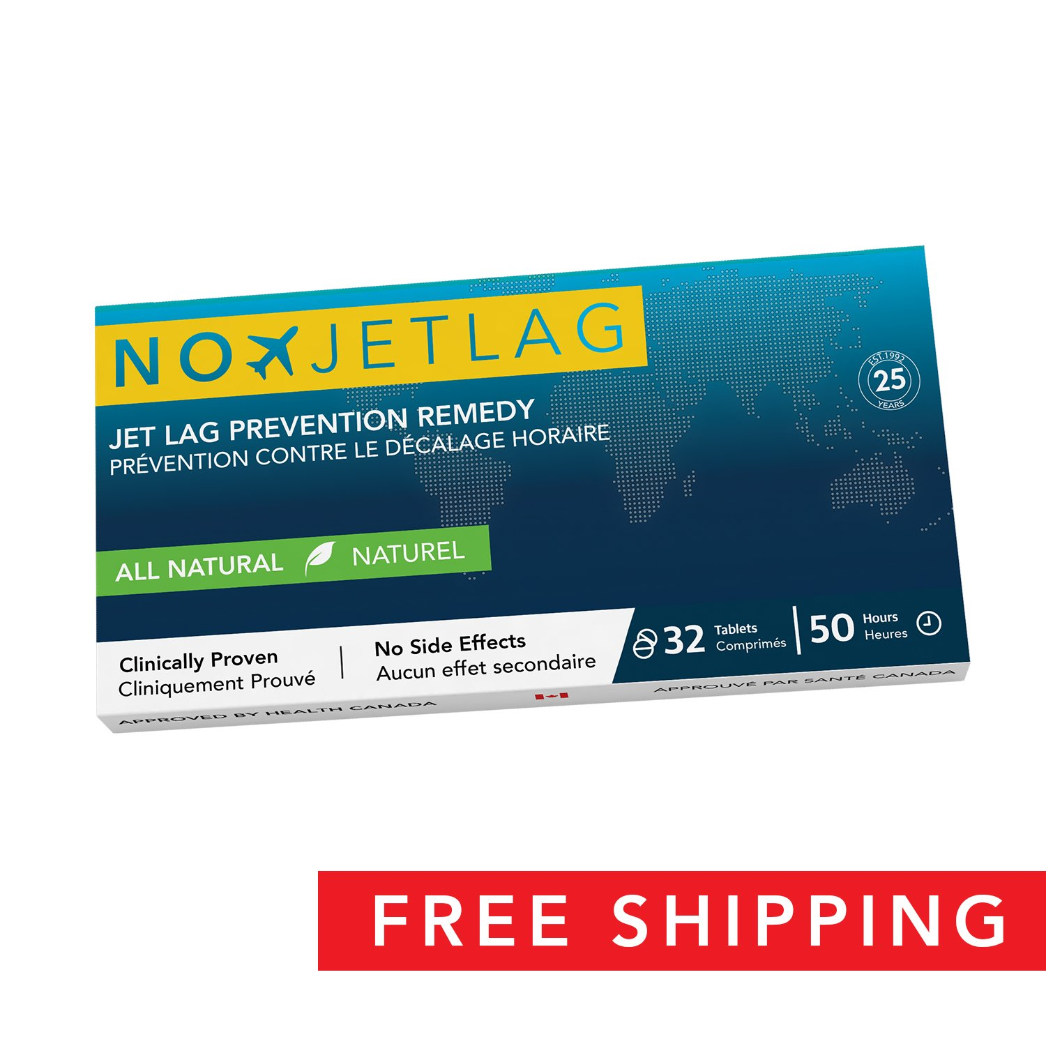 No Jet Lag Homeopathic Jet Lag (2018 Edition) - Jet Lag Prevention & Relief for Long Distance Flights   Fly Smarter   All Natural Supplement   Airplane Accessories   No Jet Lag   32 Tablets Included