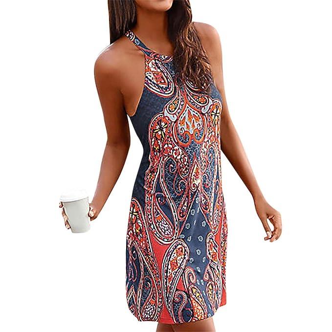 b610e3f42fec Cyose Fashion Women Halter Neck Bohemian Dress Famale Print Sleeveless  Casual Mini Dress Off Shoulder Beachwear