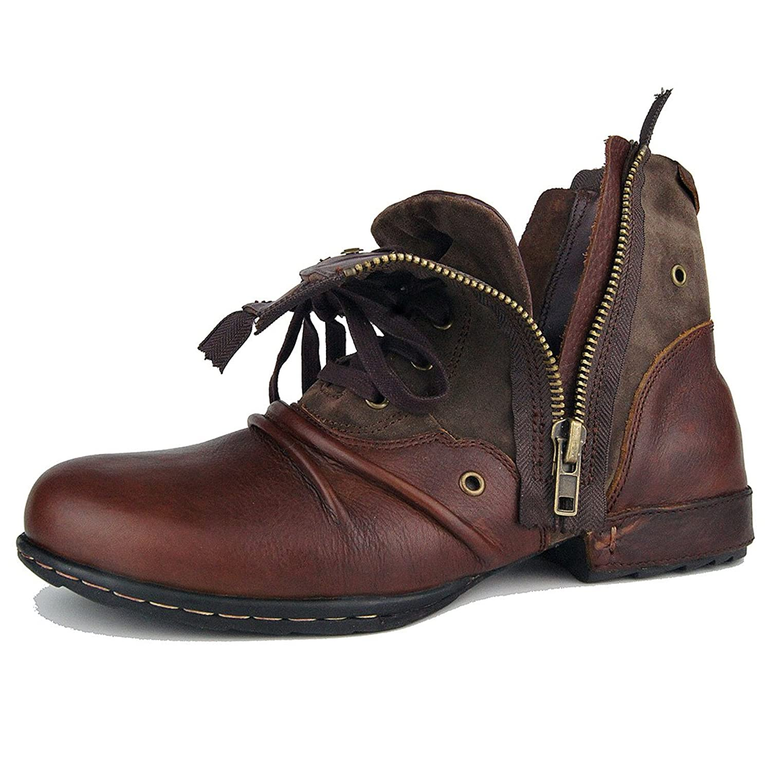 Leather Chukka Boots For Men Fashion Zipper-up Boots Casual Shoes By OTTO  ZONE OZ
