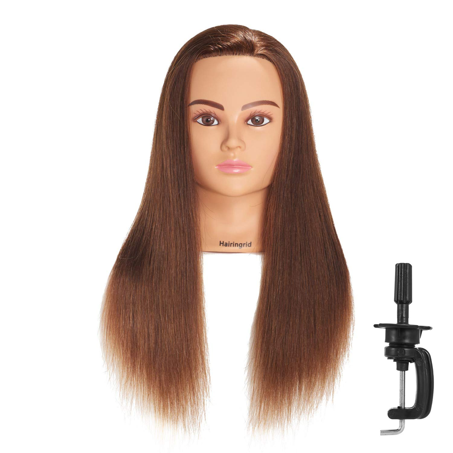 Hairingrid Mannequin Head 24''-26''100% Human Hair Hairdresser Cosmetology Mannequin Manikin Training Head Hair and Free Clamp Holder (R71906LB0418H) by HAIRINGRID