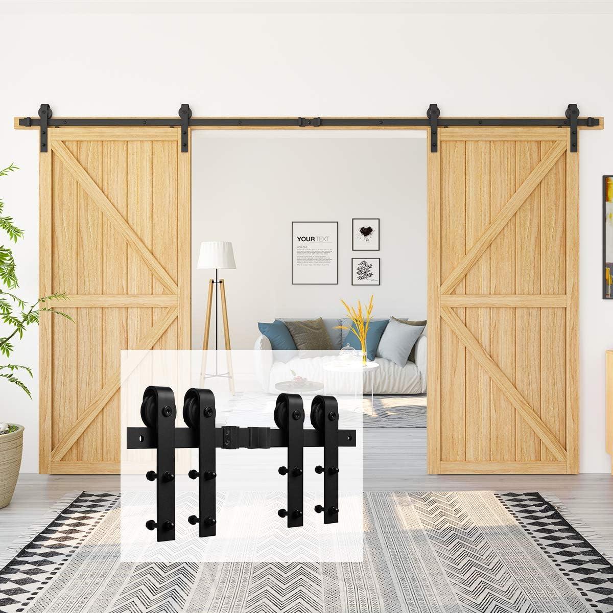 Homlux - Kit de Herramientas para Puerta corredera, Resistente, Suave y silencioso, Simple y fácil de Instalar, para Paneles de Puerta de 91,44 cm a 101,6 cm (Negro) (Perchas en Forma de