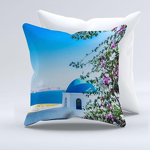 Cojín de Santorini ebean azul en forma de cúpula Iglesia ...