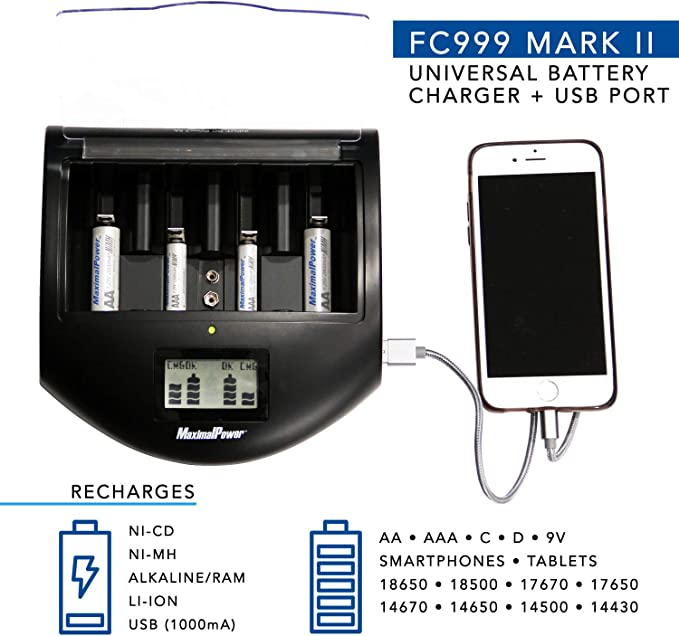 Ni-CD Alkaline Ni-Mh Battery Universal Charger for AA AAA C D 9V New Lithium