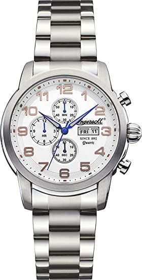 Ingersoll Quartz INQ018WHSL - Reloj de pulsera hombre, acero inoxidable, color plateado
