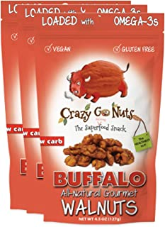 product image for Crazy Go Nuts Walnuts - Buffalo, 4.5 oz (3-Pack) - Healthy Snacks, Vegan, Gluten Free, Superfood - Natural, ALA, Omega 3 Fatty Acids, Good Fats, and Antioxidants
