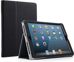 RUBAN Case Compatible with iPad 9.7 Inch 2018/2017/iPad Air 2/iPad Air - [Corner Protection] - [Scratch-Resistant] Premium PU Leather Folio Smart Stand Cover w/Auto Sleep/Wake, Black