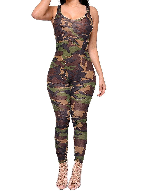 NANYUAYA Women's Scoop Neck Sleeveless Bodysuit Bodycon Camouflage Jumpsuit