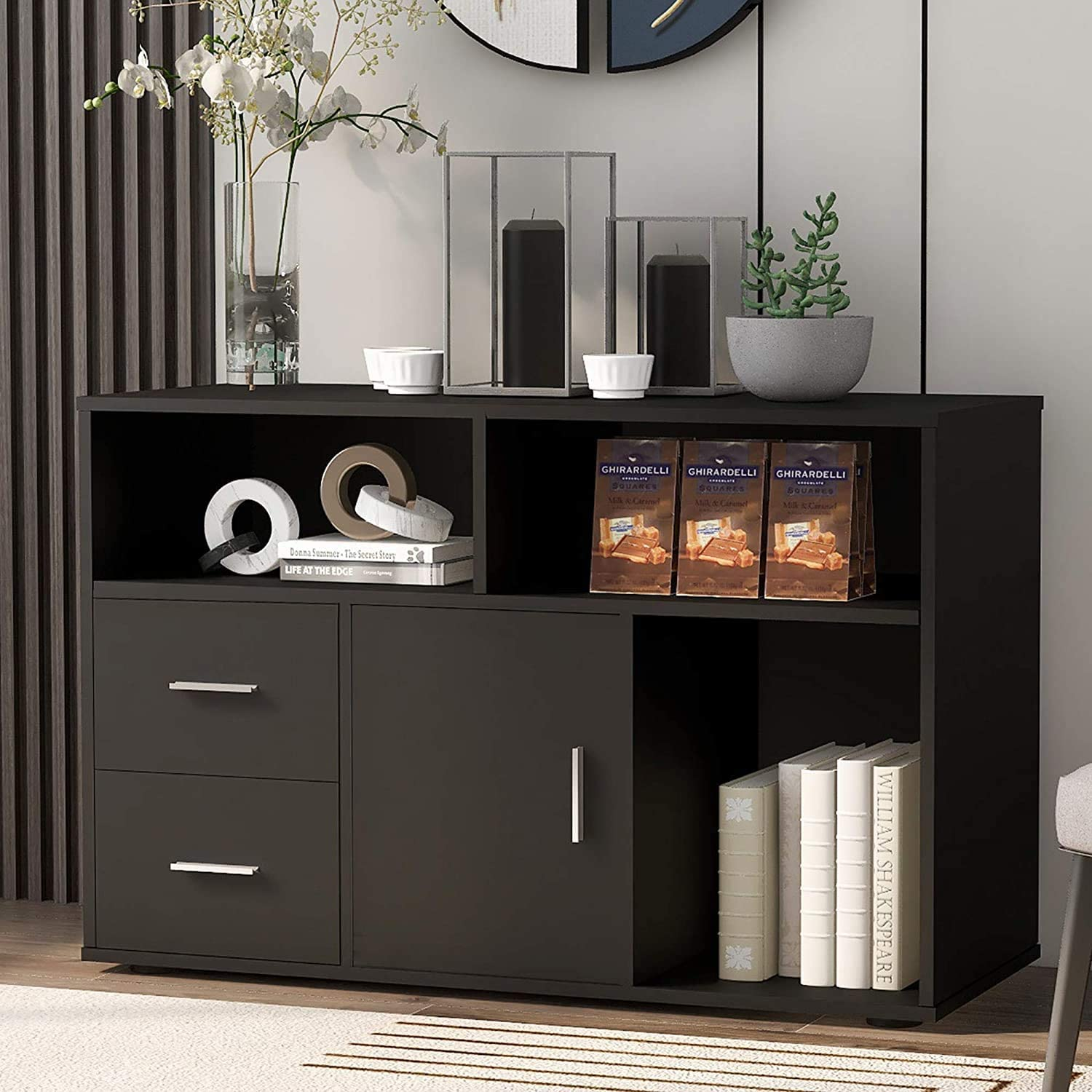 Ouryes Black Wood Sideboard TV Stand Storage Cabinet for Living Room Bedroom Kitchen 2 Drawers,1 doors,3 storage shelf 100 CM X 40CM X 66cm