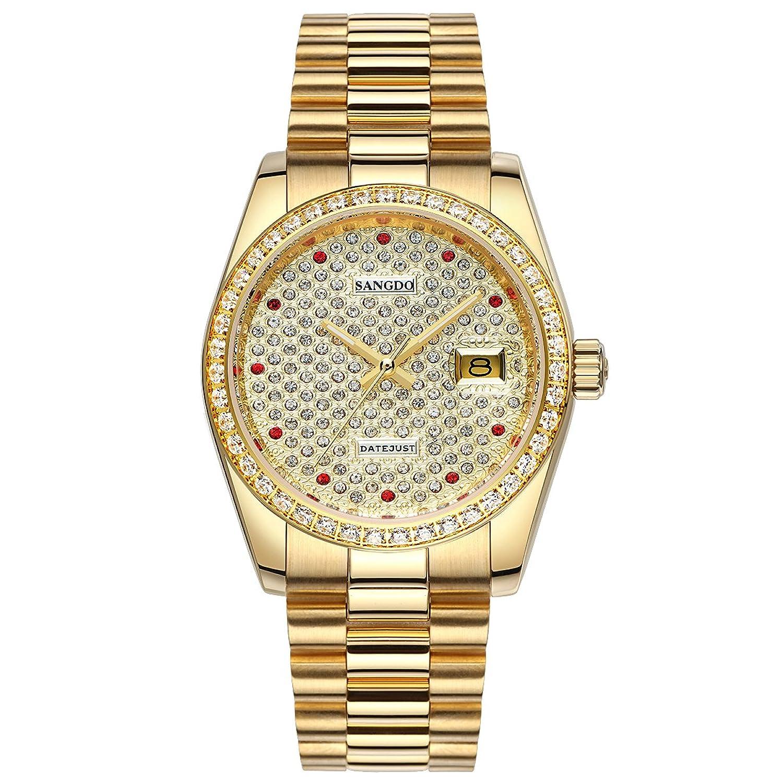 topwatch® sangdo Frauen Armbanduhr Elegantes Gold-Finish - Stahl - Herren-LÜnette - Diamantbesatz